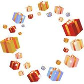 Multi-coloured boxes with gifts. — Stock Vector