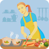 The housewife makes a dinner — Stock Vector
