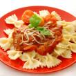 Farfalle with tomato sauce — Stock Photo