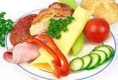 Ham and cheese snack — Stock Photo