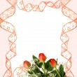 Stock Photo: Pink ribbon frame with roses