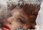 Face in ice — Stock Photo