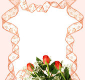 Pink ribbon frame with roses — Stock Photo