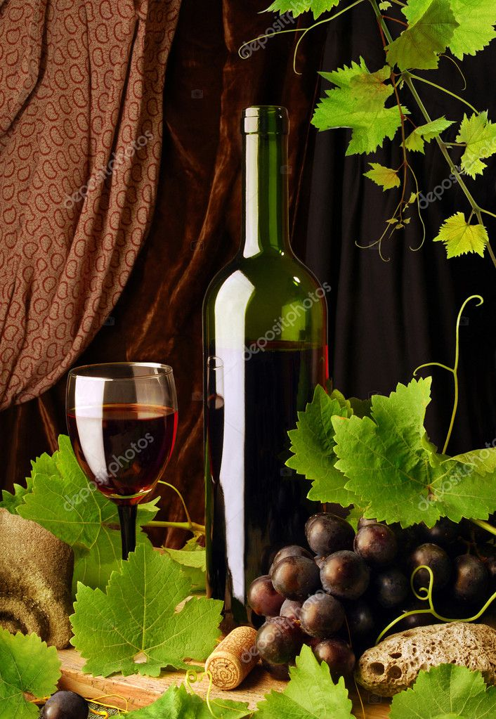 Composition of red wine with grapes and grapevine  Stock Photo #2777685