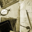 Antique writing in sepia tone - Stock Photo