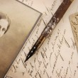 Vintage composition with woman photo — Stock Photo
