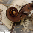 Vintage romance with old violin — Stock Photo