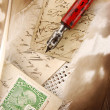 Vintage composition with pen — Stock Photo