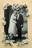 Vintage bridal pair with daisies — Stock Photo