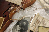 Vintage romance with violin — Stock fotografie