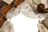 Vintage border with violin — Stock Photo