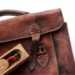 Stock Photo: Vintage schoolbag in detail