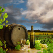 Wine still life and vineyard — Stockfoto