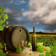 Wine still life and vineyard - Stock Photo