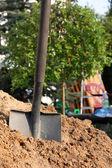 Shovel in the soil — Stock Photo