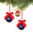 Branch with christmas balls - Stock Photo