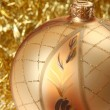 Big golden Christmas bauble — Stock fotografie