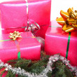 Gifts with pine branch — Stok fotoğraf