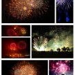 Collage of exploding fireworks. — Stock Photo