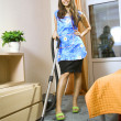 Housewife with vacuum cleaner — Foto de Stock