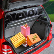 Present boxes in a car - Stockfoto