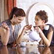 Two girl-friends drink tea - Stock Photo