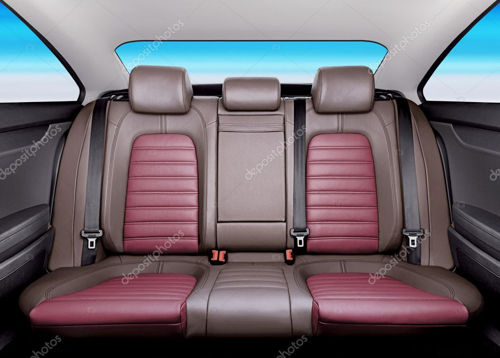 Back passenger seats in modern sport car, frontal view — Stock Photo #2960870
