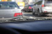 Rain drops on windshield — Stock Photo
