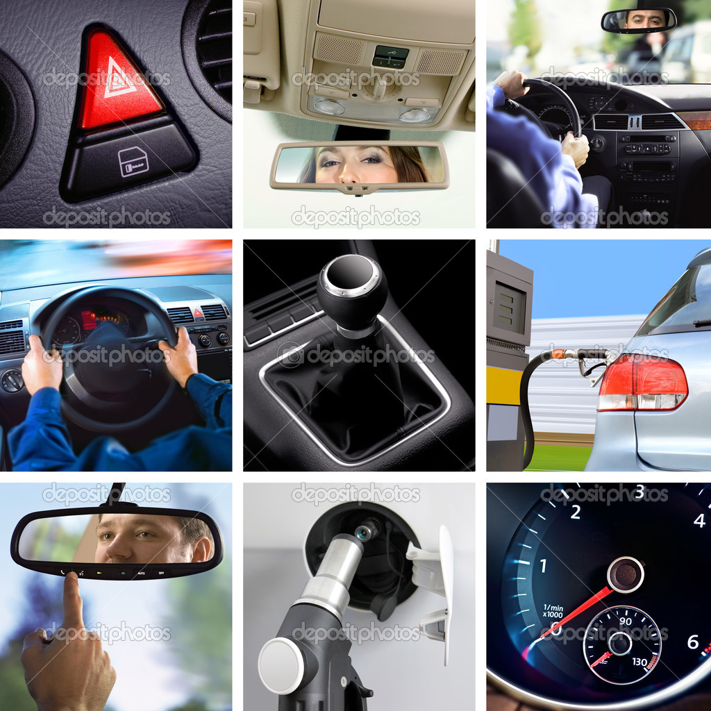 Collage of car interior details and transport attributes — Stock Photo #3099009