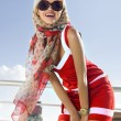 Fashionable girl in red dress — Stok fotoğraf