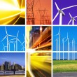 Electric power collage - Stock Photo