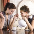 Friends drink tea — Stock Photo