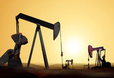 Silhouette of oil pump — Stock Photo