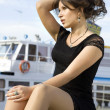 Lady on mooring - Stock Photo
