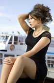 Lady on mooring — Stock Photo