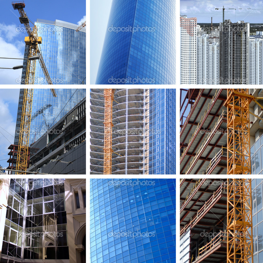 Collage of construction of modern skyscrapers and building crane — Stock Photo #3325211