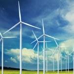 Wind turbines generating electricity — Stock Photo