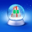 Snow globe with gifts — Stock Photo