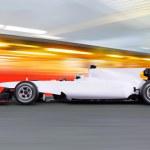 Formula one car on empty road — Stock Photo