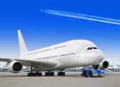 Big passenger airplane in airport — Stock Photo