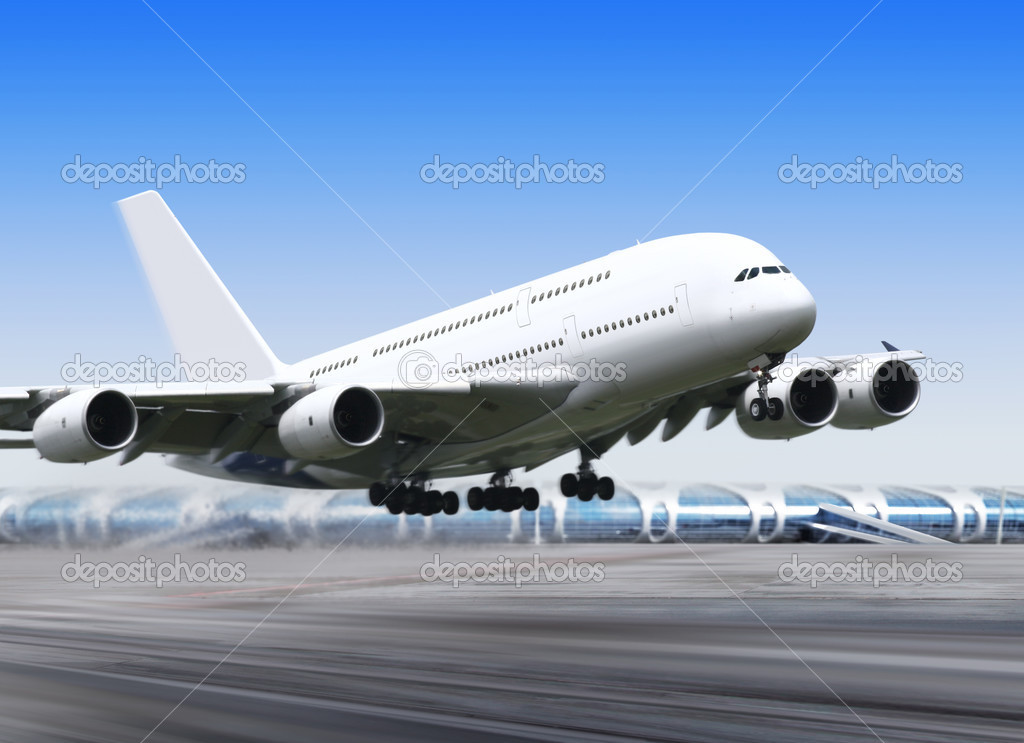 White passenger airplane in the blue sky landing away — Stock Photo #3782973