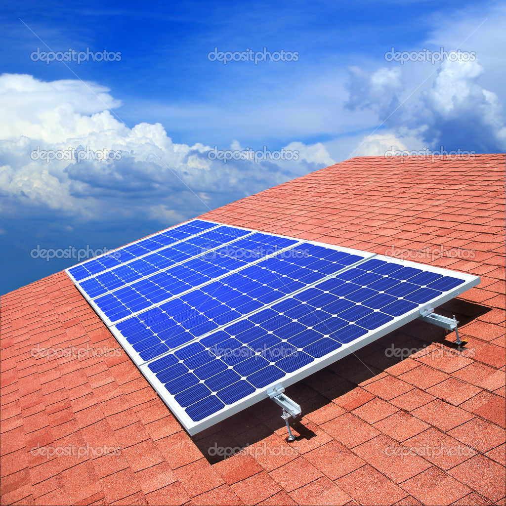 Solar panels on the roof of private home  — Stock Photo #3790316