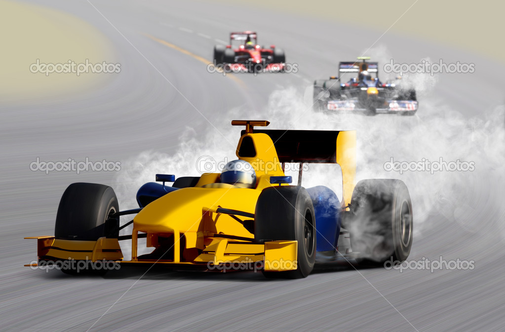 Breakdown of formula one race car on speed track — Stock Photo #3882701