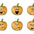 Stock Vector: Faces pumpkins