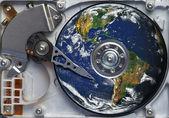 World on the hard disc — Stock Photo