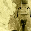 Stock Photo: Grunge music background with old fiddle