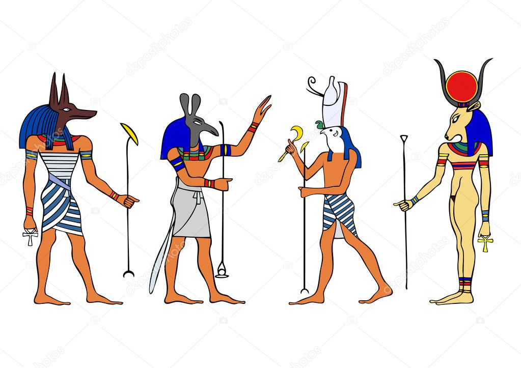 Various Egyptian Gods and Goddess.Left to right: Anubis, Seth, Horus and Hathor.  Stock Vector #3544314
