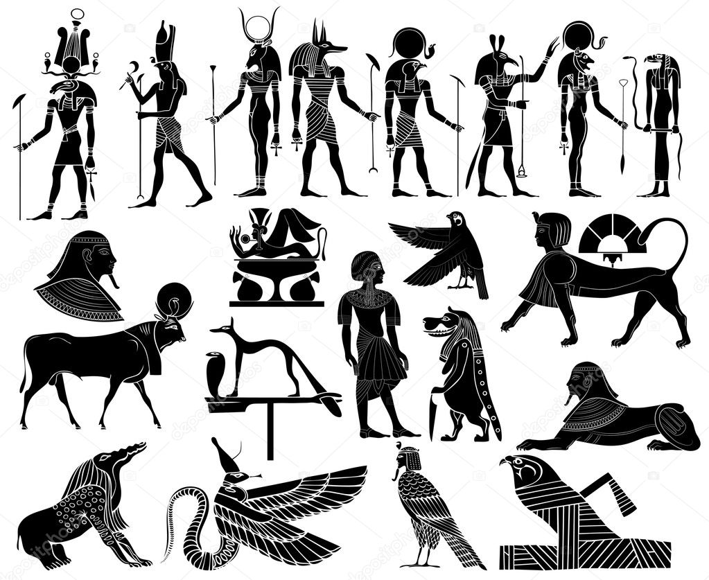 Vector various themes of ancient Egypt - illustration of the gods and goddess of ancient Egypt  — Stock Vector #3859662