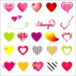 Vector hearts and symbols of love — Imagen vectorial