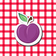 Royalty-Free Stock Vector Image: Vector plum on checkered background
